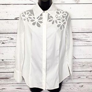 CARLISLE white floral button down shirt